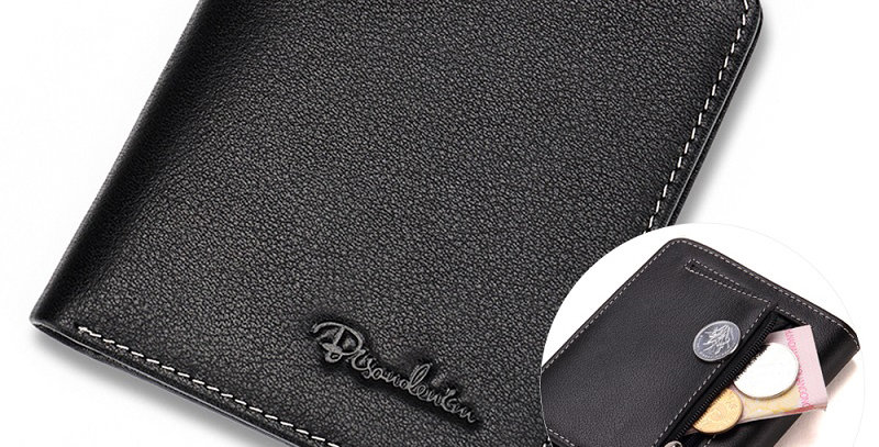 BISON DENIM Black Genuine Leather Purse for Men