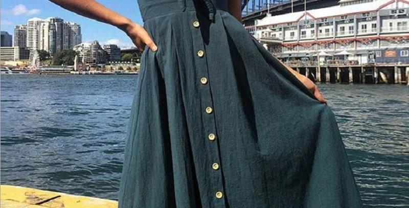 Dress Backless Polka Dots Print Cotton
