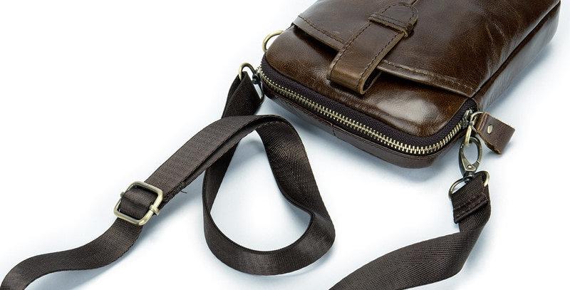 Vintage Men Messenger Bags Genuine Leather Male Mini Travel Bag
