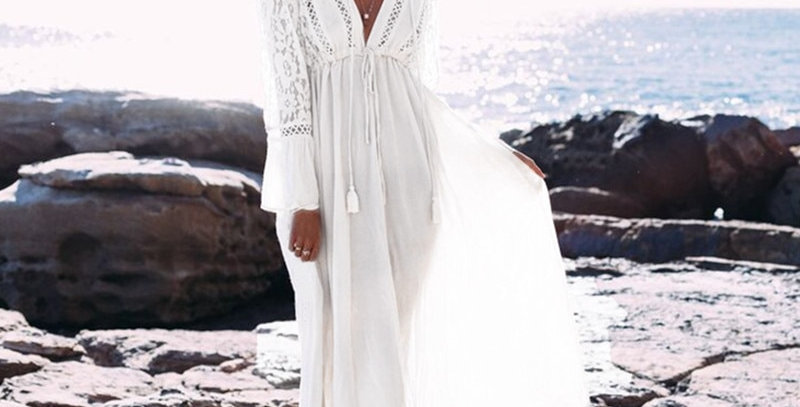 Long Sleeve Beach Cover Dresses Vintage Lace