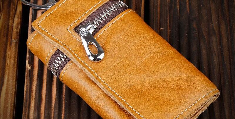 100% Genuine Leather Purse Zipper Key Wallets Holder