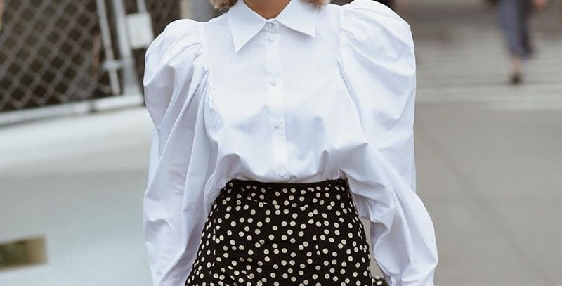 Elegant White Puff Sleeve Blouse Women Shirts Office Lady Ladies Work Wear