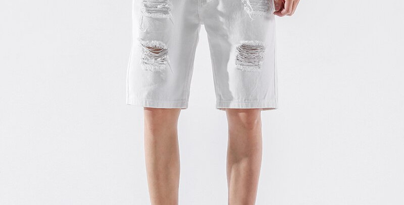 Men Ripped Loose Straight Jeans Short