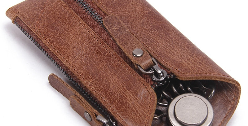 CONTACT'S Vintage Genuine Leather Key Wallet Keychain Covers Zipper