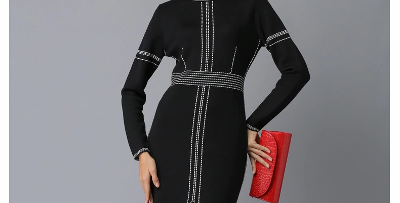 Knitted Dress O-neck Long Sleeves