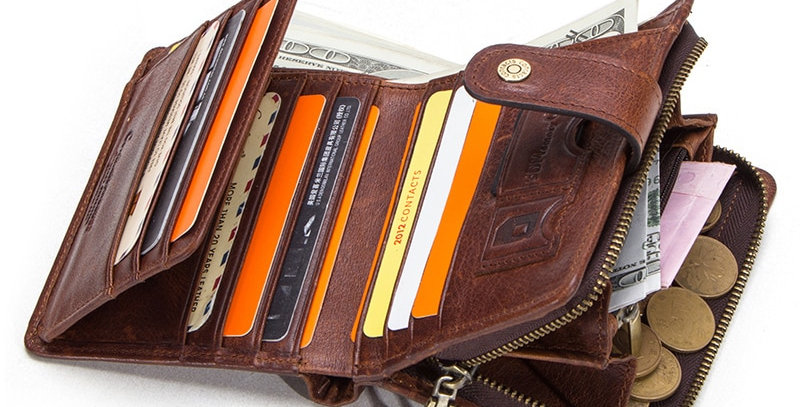 CONTACT'S Genuine Leather RFID Vintage Wallet Men With Coin