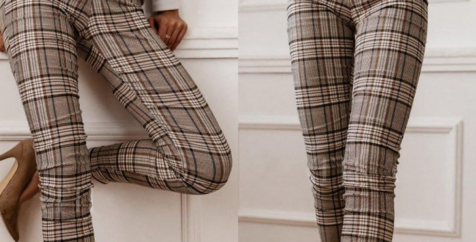 High Waist Plaid Pants