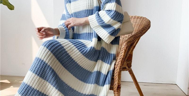 Large Size Vintage Long Knit Dress Female