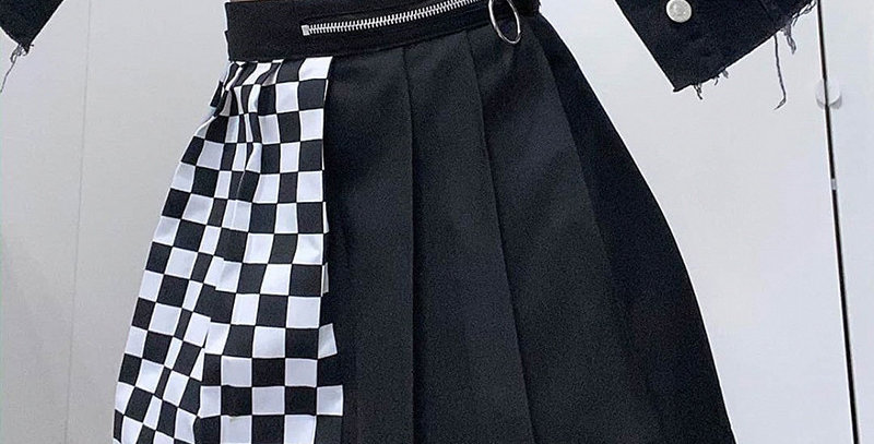 Checkerboard Pleated Skirts Womens