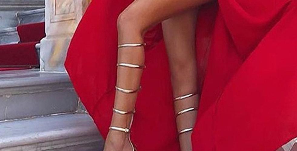 DORATASIA INS Luxury Gold Sandals Women High Heels