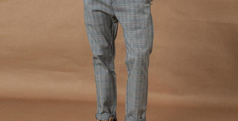 Smart Casual Plaid Pants Men Straight