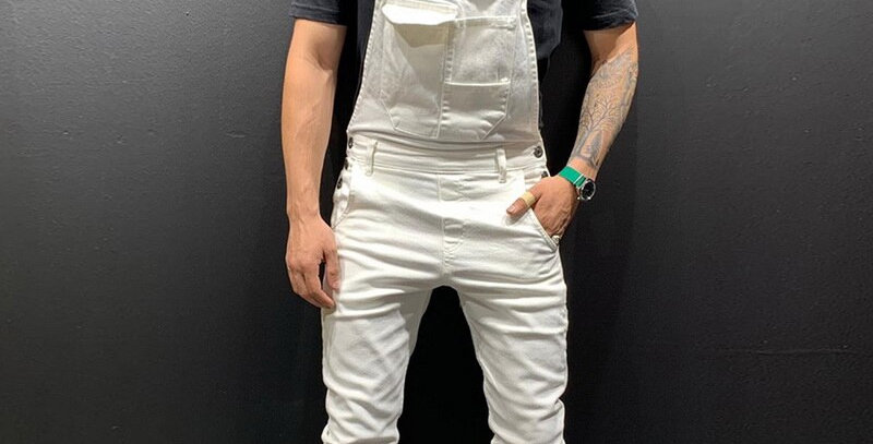 High Street Pockets Jeans Men Fashion Slim Fit Denim Jumpsuits
