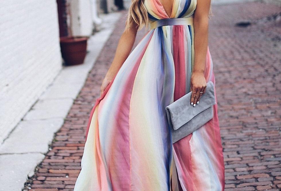 Women Dresses Bohemian Deep v Neck Halter Rainbow Printed