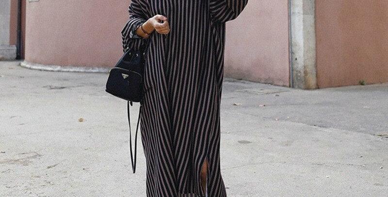 Long Style Stripe Shirt Style Dresses