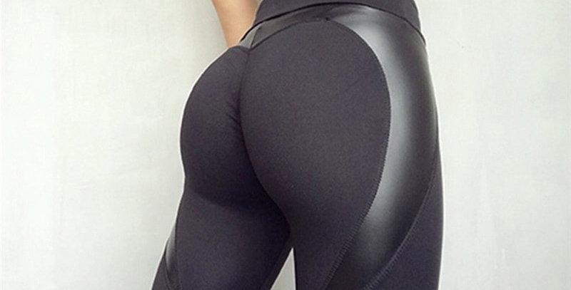 Black Heart Shape Booty Sport Pants Women  Leather