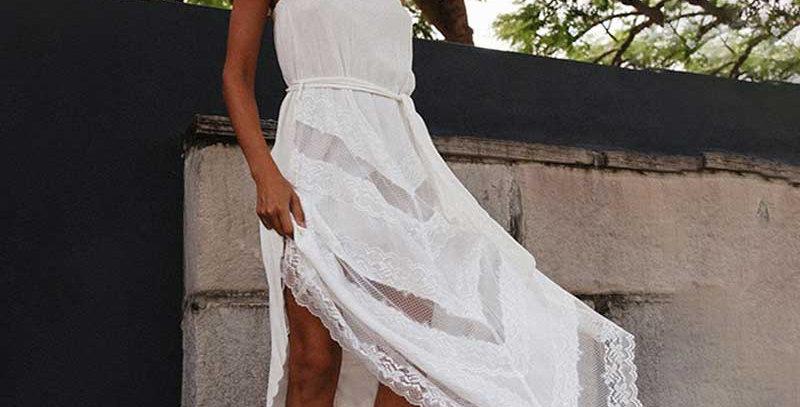 Asymmetrical White Tunic Beach Dress Lace Bow Tied Waist