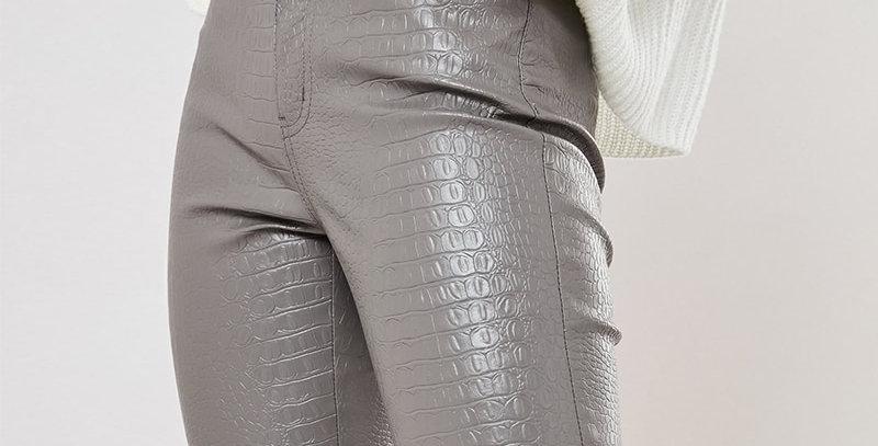 Black High Waist Pencil Faux Leather Pants