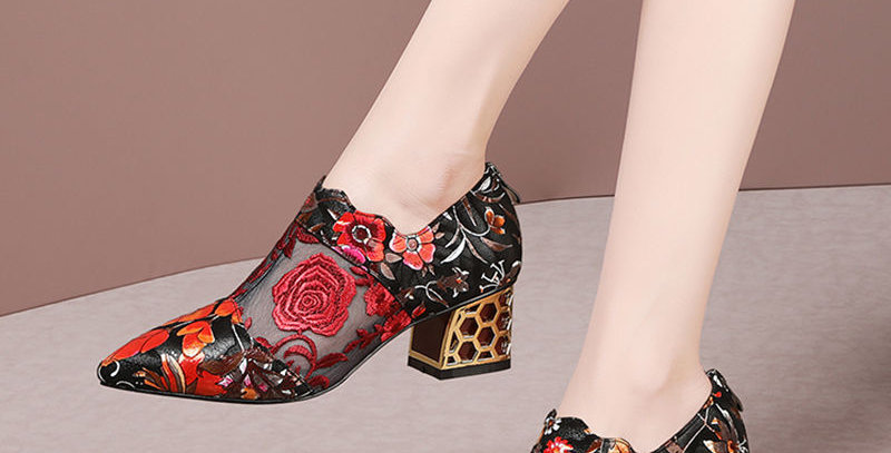 Shoes Pointed Toe Embroidered Flower