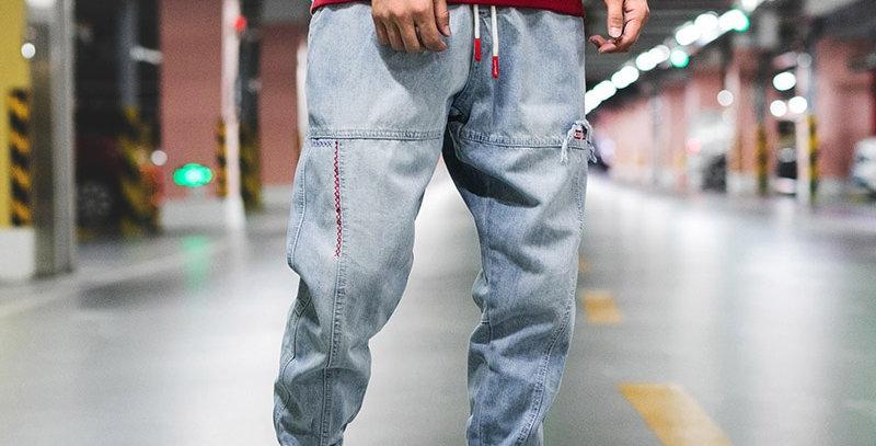 Hip Hop Blue Jeans Men Streetwear Pants Oversized Clothes