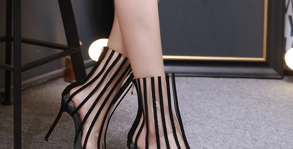 PVC Transparent Boots Sandals Pointed Toe