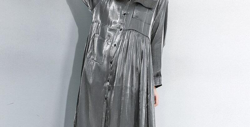 Pleated Split Big Size Shirt Dress