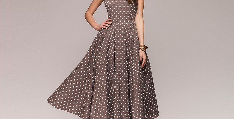 Women Vintage Dress Sleeveless O-Neck