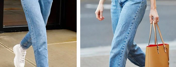 100% Cotton Vintage High Waist Mom Jeans Women`s Blue Black