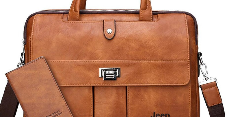 JEEP BULUO Man Briefcase Big Size 15 Inches Laptop Bags