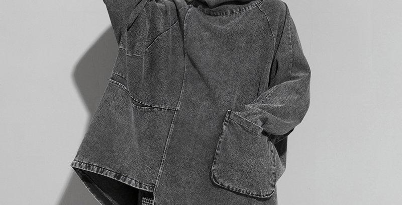 Loose Fit Black Denim Oversized Sweatshirt New High Collar Long
