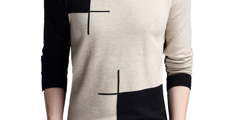 BROWON Men Sweater Long-Sleeved Sweate O-Neck Edited Knit