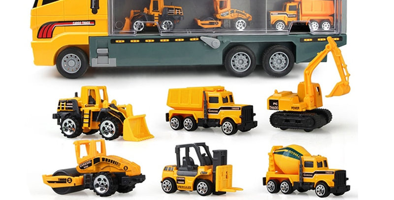 Big Truck & 6PCS Mini Alloy Diecast Car Model 1:64 Scale