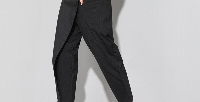 Long Harem Pants Women Elastic Waist Button