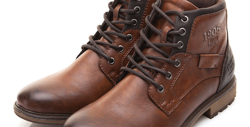 Men Boots Leather Vintage Style Ankle Boots Men Lace Up