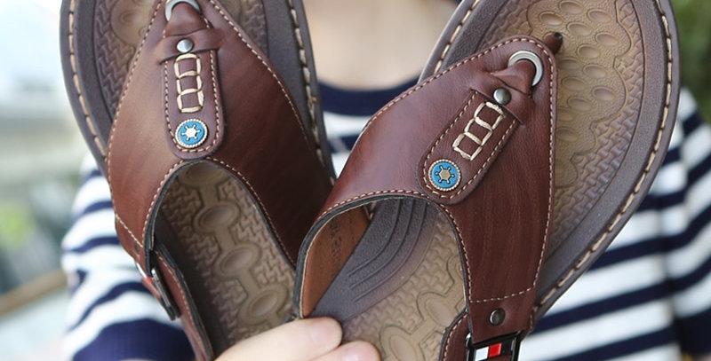 Flip Flops Pu Leather Slippers Male Flats Sandals