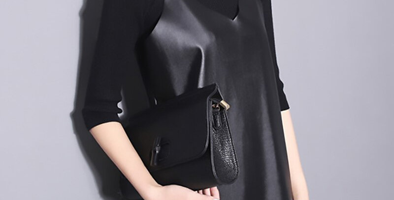 Black Pu Leather Dress