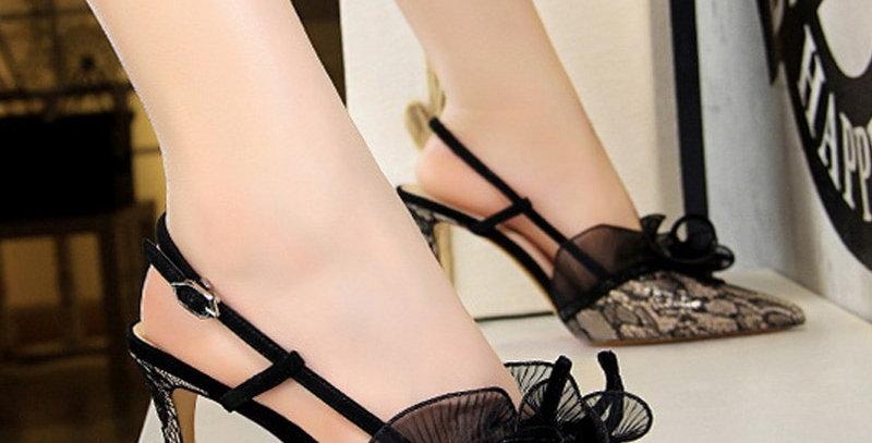 High Heel Shoes Lace Flower Women Sandals New Buckle