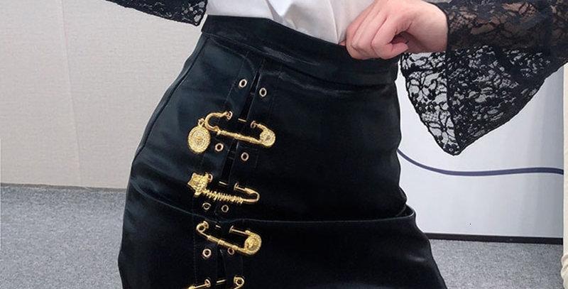 Asymmetrical Women's Skirts High Waist PU Leather