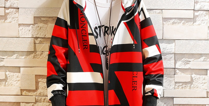 Hip Hop Street Casual Fashion Trench Coat Men Hooded Printing Long Sleeve