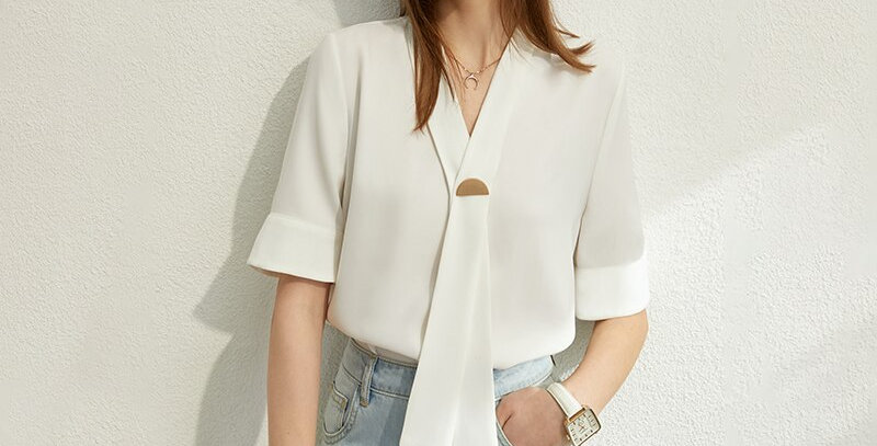 Minimalism Bow Neck Solid Women Tops