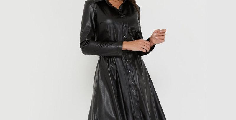Pu Leather A-Line Dresses