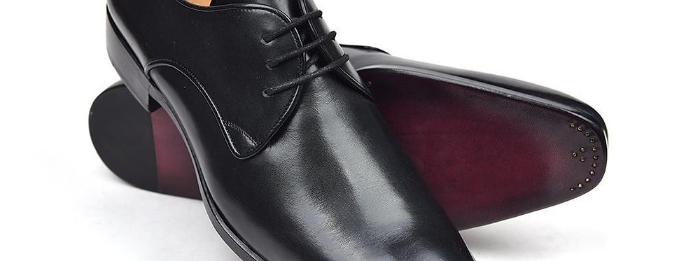 Paul Parkman Men's Black Leather Derby Shoes