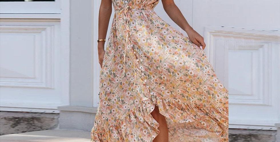 Dress Women Floral Print Long Chiffon Bohemian Dress Short Sleeve Boho Style