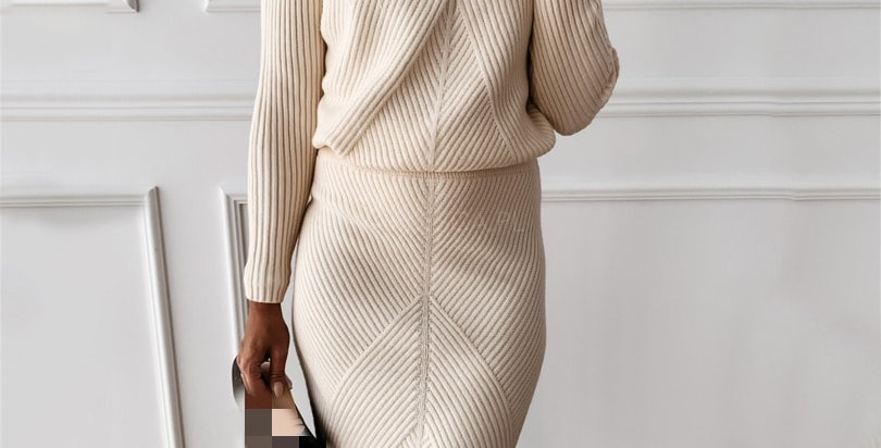 Turtleneck Knit Sweater + Slim Skirt Two-Piece Set