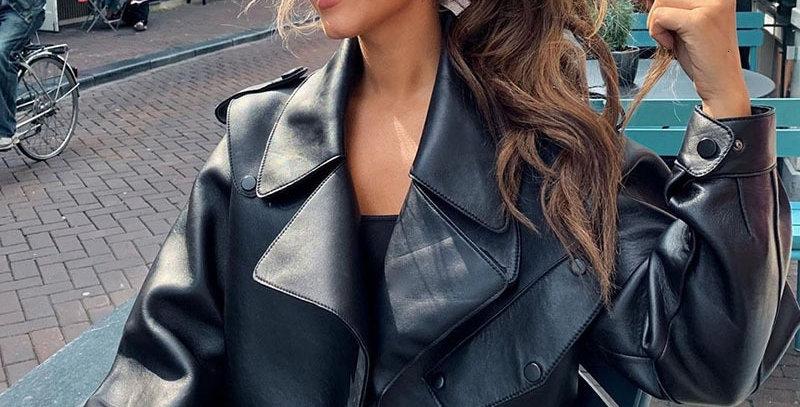 Leather Campera Cuero Mujer Coat