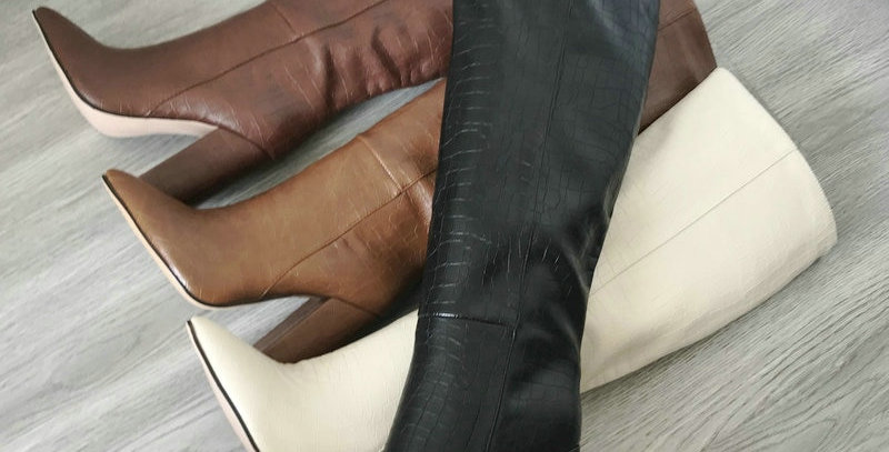 Faux Leather Women Knee High Boots