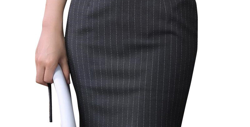 Slim Stripe Skirt Women Elegant High Quality Plus Size