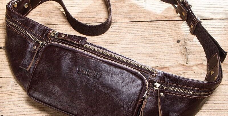 Cow Leather Men Waist Bag