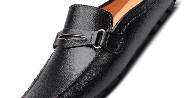 Loafers Leather Half Slipper Breathable Slip on Shoes Men Moccasins