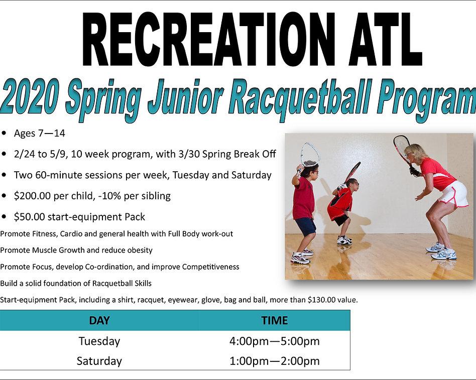 2020 Spring Junior Racquetball Program.j