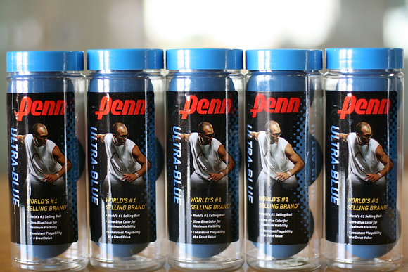 5 CANS PENN Racquetball ULTRA BLUE, 5 SETS of Three, 15 Balls Total